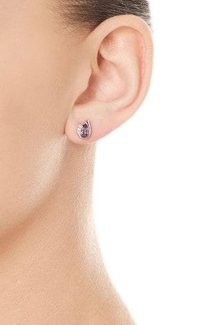 Beaverbrooks 9ct White Gold Diamond Amethyst Stud Earrings