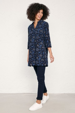 Seasalt  Blue Cobland Tunic Floral Shapes Midnight