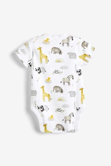 Ecru 5 Pack Cotton Animal Short Sleeve Bodysuits (0mths-3yrs)