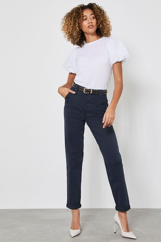 Mint Velvet Blue Button Detail Chino Trousers