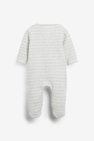 Grey Stripe Towelling Sleepsuit (0mths-2yrs)