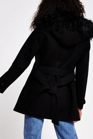 River Island Black Belted Short Faux Fur Hood Coat