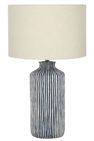 Bude Blue/White Stripe Stoneware Table Lamp by Pacific