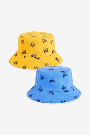 Blue/Orange Print 2 Pack Bucket Hats (3mths-10yrs)