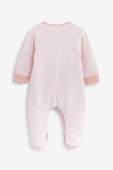 The Little Tailor Pink Stripe Jersey Rocking Horse Sleepsuit