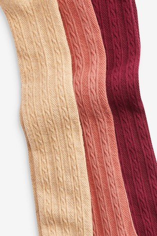 Caramel/Ginger/Berry 3 Pack Cable Tights