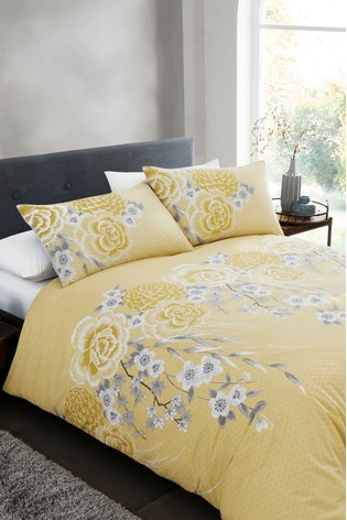 Catherine Lansfield Yellow Oriental Blossom Easy Care Duvet Cover and Pillowcase Set