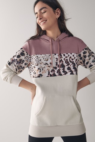 Animal/Stone Colourblock Hoodie