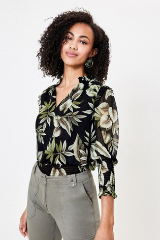 Oasis Black Leaf Print Shirred Top