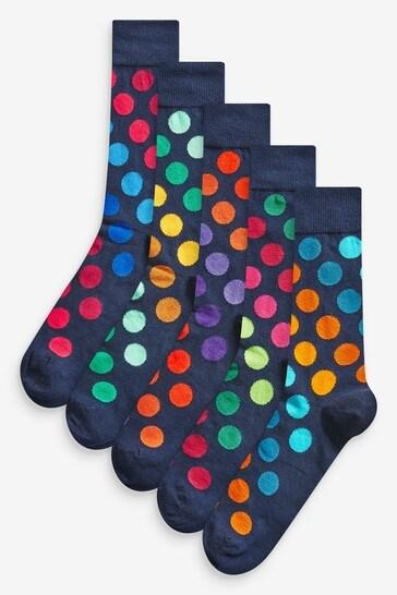 Navy Rainbow Spot Socks 5 Pack