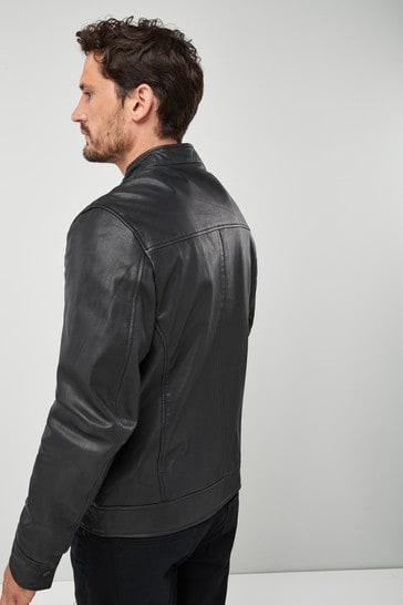 Black Signature Leather Racer Jacket