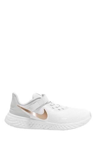 Nike Run White/Gold Revolution 5 Trainers