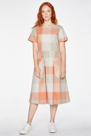 Thought Orange Alexa Check Dress