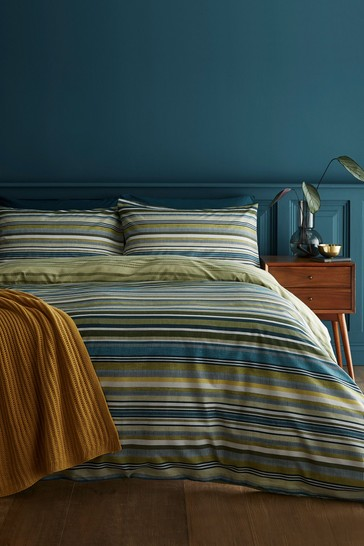 Catherine Lansfield Green Ravenna Stripe Easy Care Duvet Cover and Pillowcase Set
