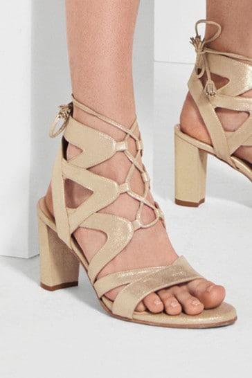 Next/Mix Lace-Up Heeled Sandals