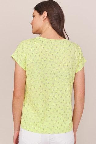 White Stuff Yellow Nelly Notch Neck T-Shirt