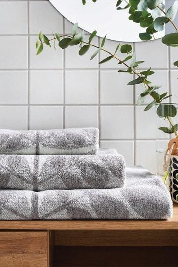 Orla Kiely Grey Botanica Stem Towel
