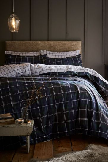 Catherine Lansfield Blue Brushed Cotton Tartan Check Duvet Cover and Pillowcase Set