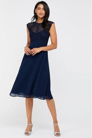 Monsoon Navy Lolita Lace Midi Dress