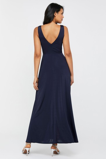 Monsoon Navy Jessie Jersey Twist V-Neck Maxi Dress