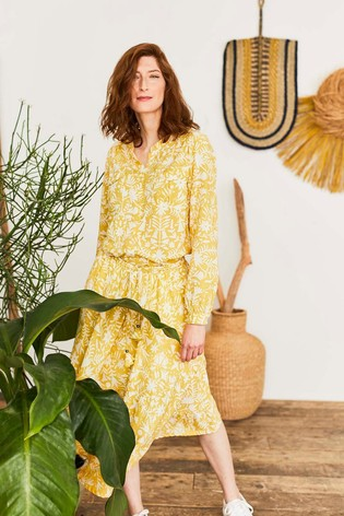 Thought Yellow Otomi Tiered Skirt