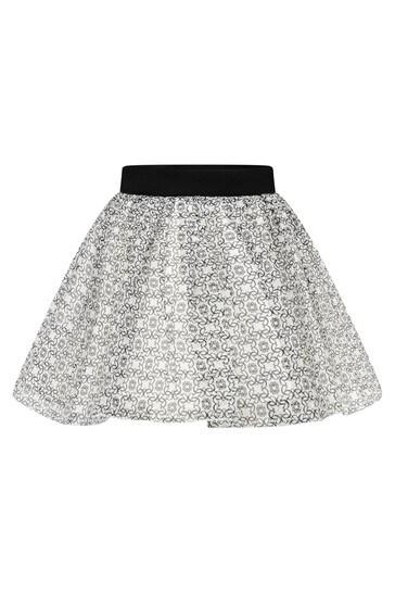 Girls Ivory & Black Silk Skirt