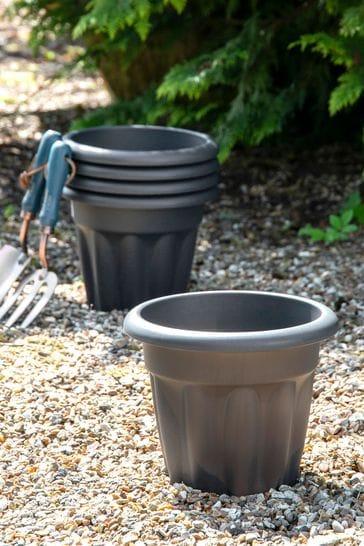 Set of 5 Vista 25cm Round Garden Planters by Wham
