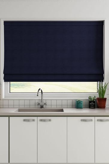 Cotton Navy Blue Made To Measure Roman Blind