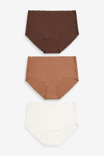 Nude Midi Scallop Knickers Three Pack