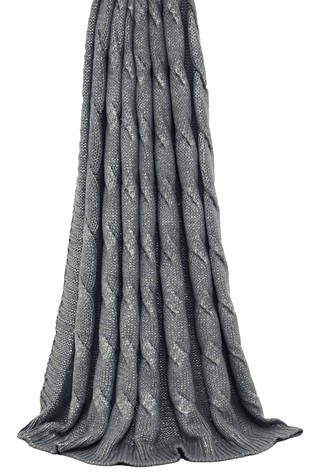 Riva Home Silver Metallic Cable Chunky Knit Throw