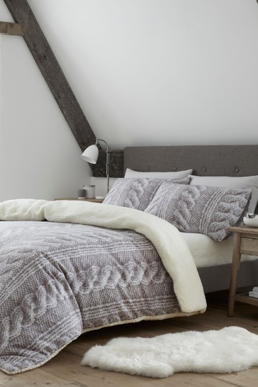 Cable Knit Fleece Duvet Cover and Pillowcase Set by Catherine Lansfield