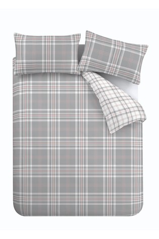 Catherine Lansfield Pink/Grey Kelso Check Duvet Cover And Pillowcase Set