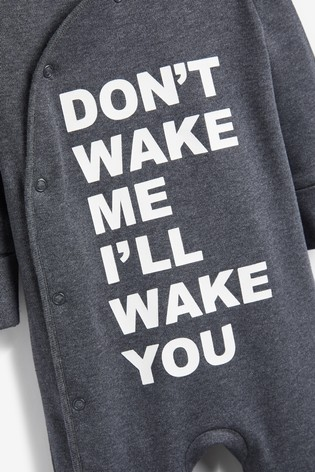 Charcoal Slogan Sleepsuit (0mths-2yrs)