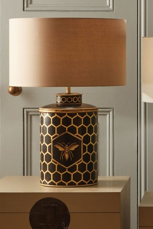 Pacific Black Honeycomb Bee Hand Painted Metal Table Lamp