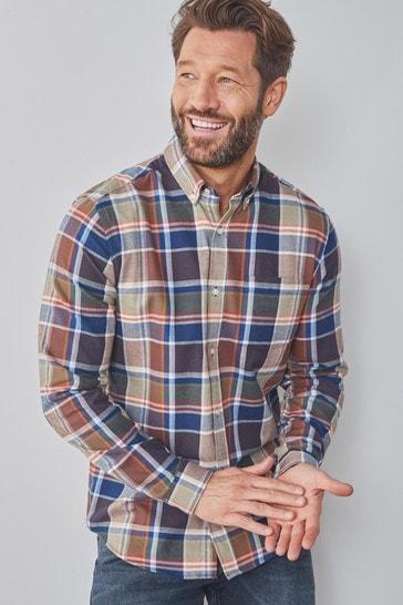 Brown/Khaki Regular Fit Brushed Flannel Check Long Sleeve Shirt