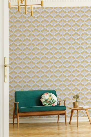 Art For The Home Ochre Fresco Retro Ogee Wallpaper