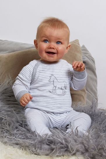 The Little Tailor Grey Stripe Jersey Rocking Horse Sleepsuit