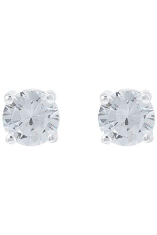 Accessorize Clear Round Cut Solitaire Earrings