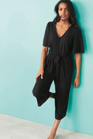 Black Button Front Culotte Jumpsuit