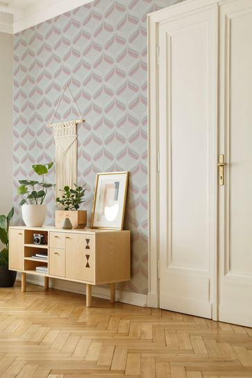 Art For The Home Pink Fresco Retro Ogee Wallpaper