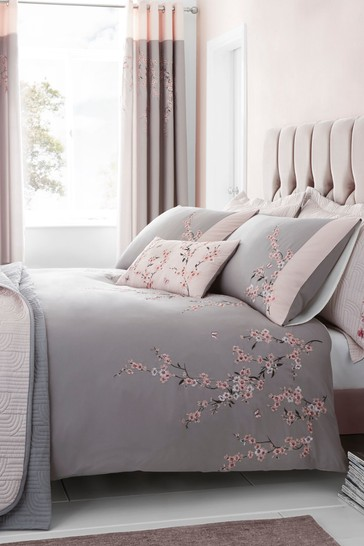 Embroidered Blossom Duvet Cover and Pillowcase Set by Catherine Lansfield