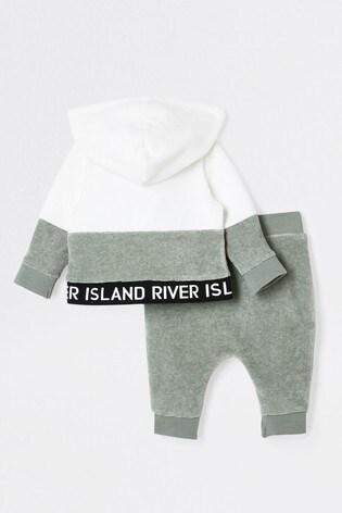 River Island Khaki Velour Zip Through Set