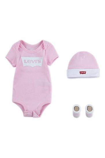 Levi's® Kids Classic Batwing Infant Hat, Bodysuit, And Booties Set
