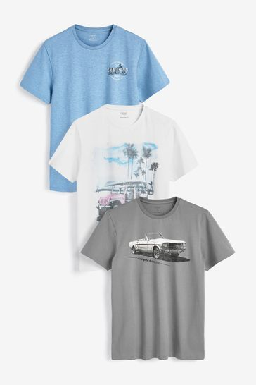 Blue/Grey Graphic T-Shirts 3 Pack