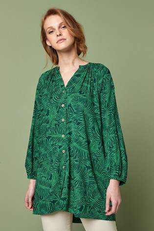 Green Palm Print Button Through Longline Top