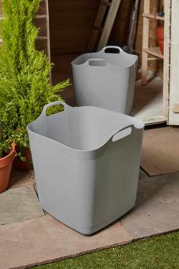 Set of 2 Wham 40Ltr Flexi-Store Graduated Square Plastic Storage Tubs