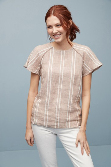 Neutral Stripe Short Sleeve Linen Top