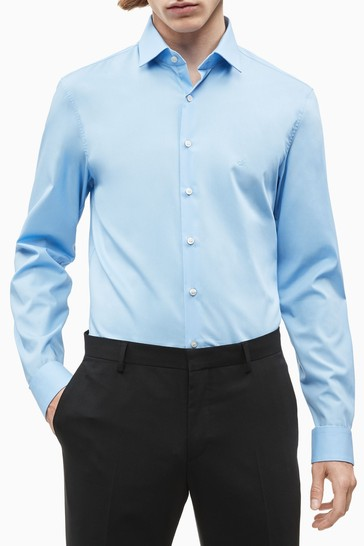 Calvin Klein Blue Slim Stretch Poplin Shirt