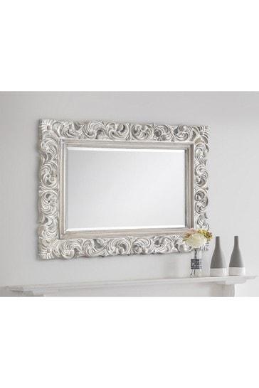 Ivory Distressed Baroque Wall Mirror by Julian Bowen