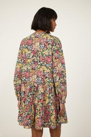 Warehouse Black Floral Long Sleeve Mini Dress